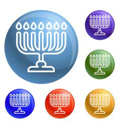 menorah icons set vector image