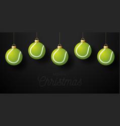 merry christmas tennis greeting card hang vector image