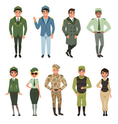 Military uniforms set military army officer vector
