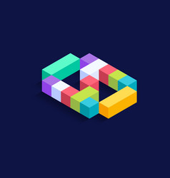 Number 0 isometric colorful cubes 3d design vector