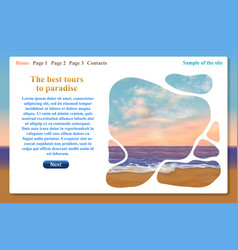 one page website related to vacation trips vector image