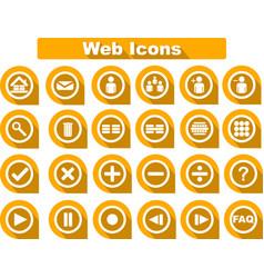orange flat web icons vector image