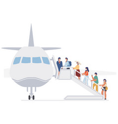 passengers stewardess wearing face masks during vector image
