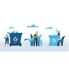 people throw garbage into containers for plastic vector image