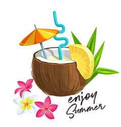 pina colada cocktail in coconut vector image