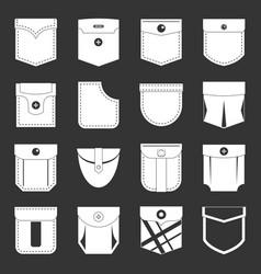 Pocket types icons set grey vector