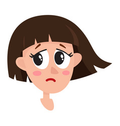 Pretty dark brown hair woman crying facial vector