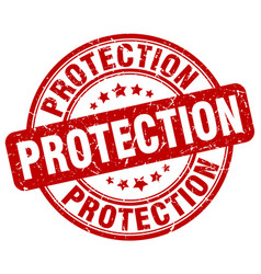protection red grunge stamp vector image