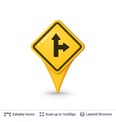 Road sign pin vector