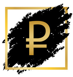 Ruble sign golden icon at black spot vector