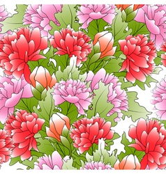 seamless a color peonies and green leafs vector image