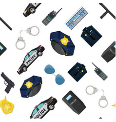 seamless police equipment set pattern vector image