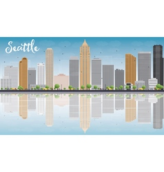 Seattle City Skyline with Grey Buildings vector