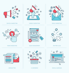 Set flat line icons for marketing vector