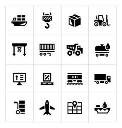 Set icons of logistic vector