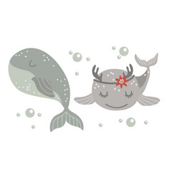 Set isolated bawhale vector