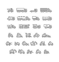 Set line icons of trucks and tractors vector