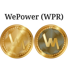 Set of physical golden coin wepower wpr vector