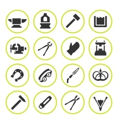 Set round icons of forge vector image