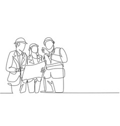 single continuous line drawing young architect vector image