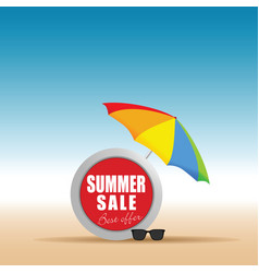 Summer sale in live saver with umbrella color vector
