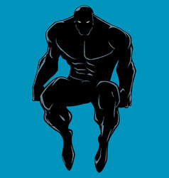 Superhero sitting no cape silhouette vector
