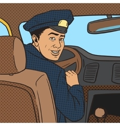Taxi driver in taxi car pop art style vector image