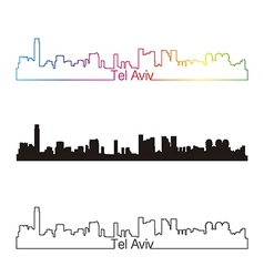 Tel Aviv skyline linear style with rainbow vector