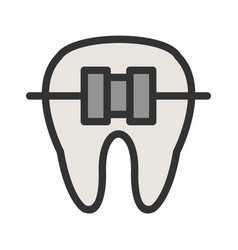 Tooth with braces vector
