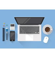 Top view of creative office workspace vector image