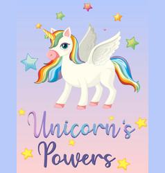 unicorn power on pink sky vector image