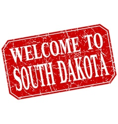 welcome to South Dakota red square grunge stamp vector image