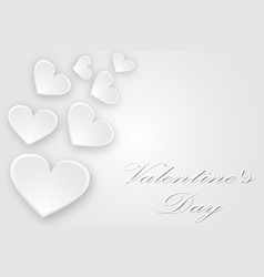 white hearts flying greeting card with valentines vector image