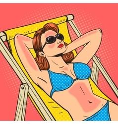 Woman got a sunburn pop art vector