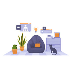 Work from home computer internet online business vector