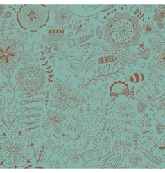 Colorful seamless botanic texture detailed vector image vector image