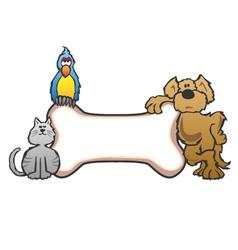 Dog Bird and Cat with Bone Pet Sign Logo vector image