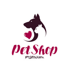 pet shop or vet clinic logo animals cat dog vector image