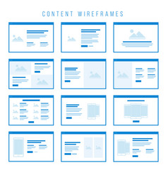 content wireframe components for prototypes vector image