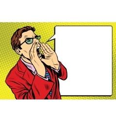 Pop art business man screaming vector image vector image