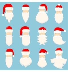 Set of twelve Santa s hats and beards vector image vector image