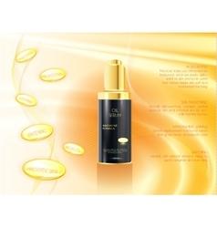 Skin serum toner template glass bottle vector