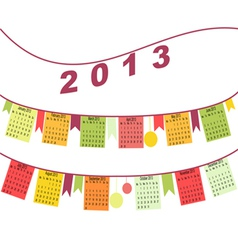 Calendar for 2013 like flags vector image