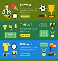 cartoon soccer sport game banner horizontal set vector image vector image