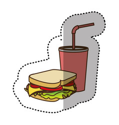 color sandwich with soda flat icon vector image vector image