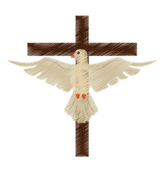 drawing holy spirit cross vector image vector image