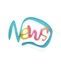 News word drawn lettering typographic element vector image