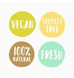 Set of vegan labels for product package vector image vector image