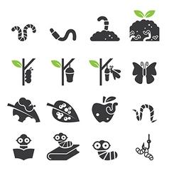 Worm icon set vector image