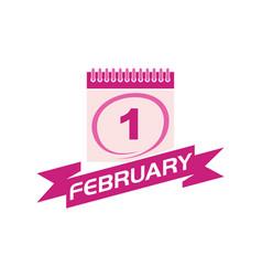 1 february calendar with ribbon vector